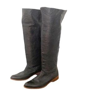 Gee Wawa Anthro Soft Black Leather Tall Boots